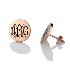 Personalized Ladies' Romantic Gold Plated/Silver Plated/Platinum Plated With Round Engraved/Initial Earrings For Bridesmaid/For Friends
