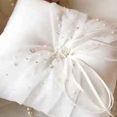 Elegant Ring Pillow in Satin With Pearl
