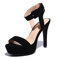 Suede Stiletto Heel Sandals Pumps Peep Toe shoes