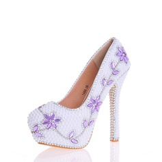 Women's Real Leather Stiletto Heel Pumps With Applique Crystal Pearl