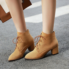 Women's Suede Chunky Heel Pumps Boots Ankle Boots With Lace-up shoes