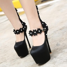 Women's PU Stiletto Heel Pumps Platform Closed Toe With Imitation Pearl Flower shoes