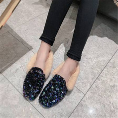 Women's Microfiber Leather Flat Heel Flats With Sequin Faux-Fur shoes