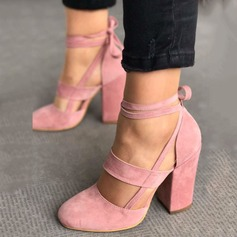 Women's Suede Chunky Heel Sandals Pumps Closed Toe With Lace-up shoes (085124946)