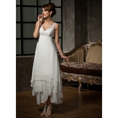 V-neck Ankle-Length Chiffon Tulle Wedding Dress With Lace Beading Sequins (265193170)
