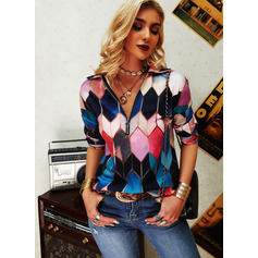Regular Fitted Geometric Print Casual Long Sleeves (1003256718)
