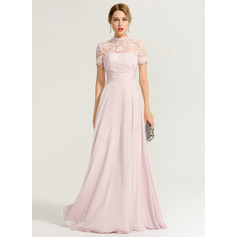 A-Linie/Princess-Linie High Neck Bodenlang Chiffon Abendkleid