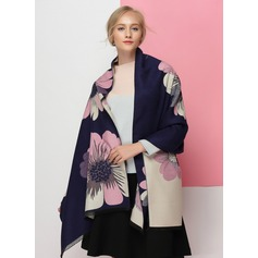 Floral Oversized/Shawls Artificial Wool Scarf