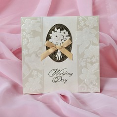 Floral Style Tri-Fold Invitation Cards With Bows