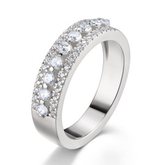 Side Stones Round Cut 925 Silver Women's Bands