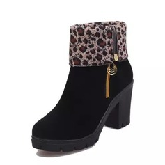 Women's Suede Chunky Heel Pumps Platform Boots Mid-Calf Boots With Zipper shoes
