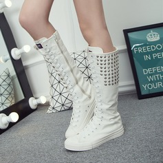 Women's Canvas Flat Heel Flats Closed Toe Boots With Rivet Zipper Lace-up shoes (088122457)