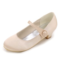 Closed Toe Satin Low Heel Pumps Flower Girl Shoes