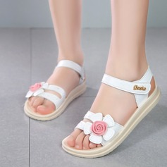 Girl's Peep Toe Leatherette Sandals Flats With Velcro