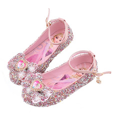 Girl's Closed Toe Leatherette Flower Girl Shoes With Bowknot Sequin