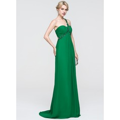 Empire One-Shoulder Sweep Train Chiffon Prom Dress With Ruffle Lace Beading Sequins