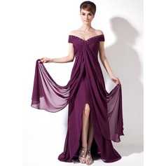 A-Line/Princess Off-the-Shoulder Sweep Train Chiffon Holiday Dress With Ruffle Beading Split Front (020036596)