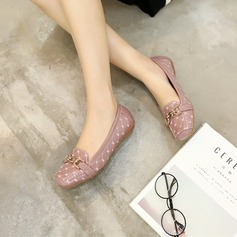 Women's PU Low Heel Flats Closed Toe With Chain shoes