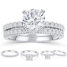 Sterling Silver Cubic Zirconia Halo Round Cut Bridal Sets (289224769)