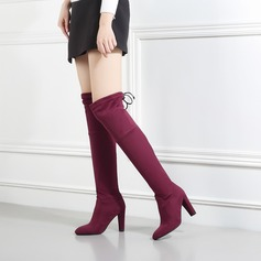 Women's Suede Chunky Heel Pumps Boots With Bowknot shoes (088138195)
