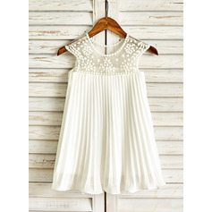 A-Line/Princess Knee-length Flower Girl Dress - Chiffon Sleeveless Scoop Neck With Ruffles/Beading