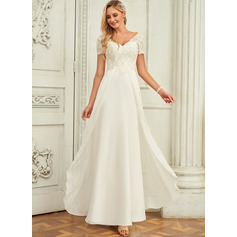 V-neck Floor-Length Chiffon Lace Wedding Dress With Lace (265255968)