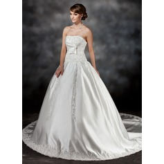 Ball-Gown Strapless Chapel Train Satin Wedding Dress With Ruffle Lace Beading Bow(s)