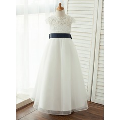 Floor-length Flower Girl Dress - Taffeta/Organza/Lace Short Sleeves Scoop Neck With Detachable Sash/V Back