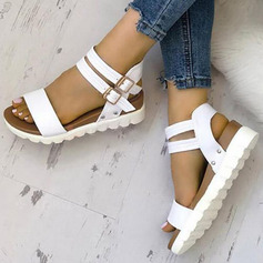 PU Flat Heel Sandals Flats Peep Toe With Buckle shoes