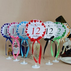 Personalized Love Design Paper Table Number Cards With Holder With Ribbons
