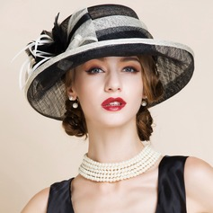 Ladies' Elegant Cambric With Feather Bowler/Cloche Hat (196121646)