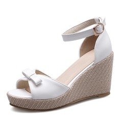 Women's Leatherette Wedge Heel Wedges With Bowknot Buckle shoes (116168538)