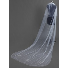 Two-tier Chapel Bridal Veils With Beaded Edge
