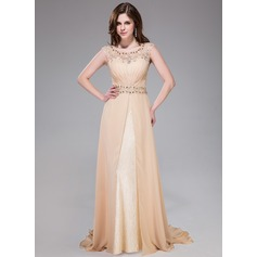 A-Line/Princess Scoop Neck Sweep Train Chiffon Lace Evening Dress With Ruffle Beading Sequins