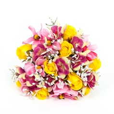 Colorful Round Artificial Silk Bridal Bouquets