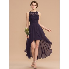 A-Line Scoop Neck Asymmetrical Chiffon Lace Homecoming Dress