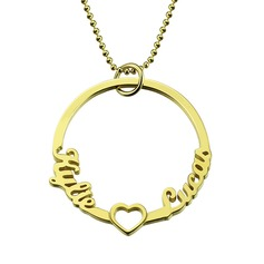 Custom 18k Gold Plated Circle Two Name Necklace With Heart - Birthday Gifts Mother's Day Gifts