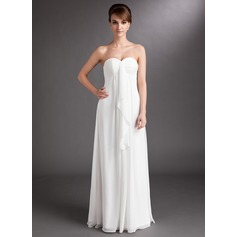 Empire Sweetheart Floor-Length Chiffon Wedding Dress With Cascading Ruffles (265193147)