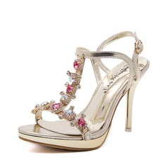 Women's Leatherette Stiletto Heel Sandals Peep Toe With Rhinestone shoes