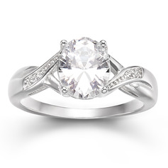 Sterling Silver Cubic Zirconia Halo Twist Oval Cut Engagement Rings Promise Rings -