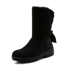 Women's Suede Low Heel Closed Toe Boots Mid-Calf Boots Snow Boots With Bowknot shoes