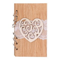 Wooden wedding cutout Roman notebook