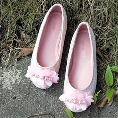 Girl's Round Toe Leatherette Flat Heel Flats With Flower