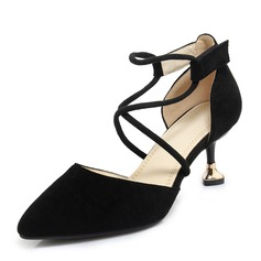 Women's Suede Spool Heel Sandals Pumps Closed Toe With Lace-up shoes