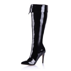 Kvinnor Lackskinn Stilettklack Over The Knee Boots med Zipper skor