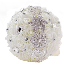 Gorgeous Round Satin/PE/Rhinestone Bridal Bouquets/Bridesmaid Bouquets