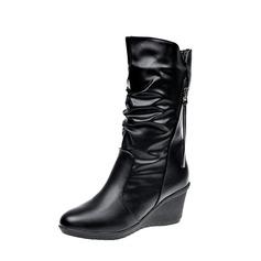 Kvinner PU Kile Hæl Pumps Støvler Mid Leggen Støvler med Glidelås sko