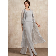 A-Line Square Neckline Floor-Length Chiffon Mother of the Bride Dress