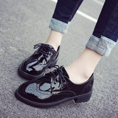 Women's Patent Leather Flat Heel Platform Closed Toe With Lace-up shoes