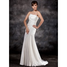 A-Line/Princess Sweetheart Sweep Train Charmeuse Evening Dress With Pleated